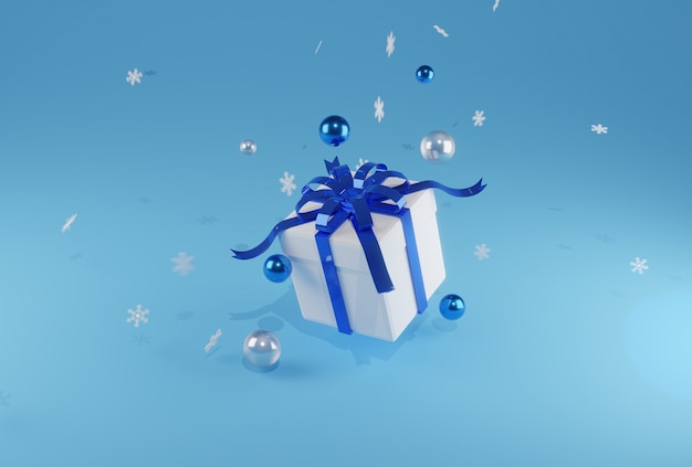 ブルーバックグラウンドにブルーのリボンと3 dレンダリングの白いギフトボックス。幸せな出産、幸せな新年、驚き、販売、割引