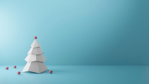 コピースペースミニマルスタイル3 dレンダリングと紙の色の背景上にクリスマスツリー