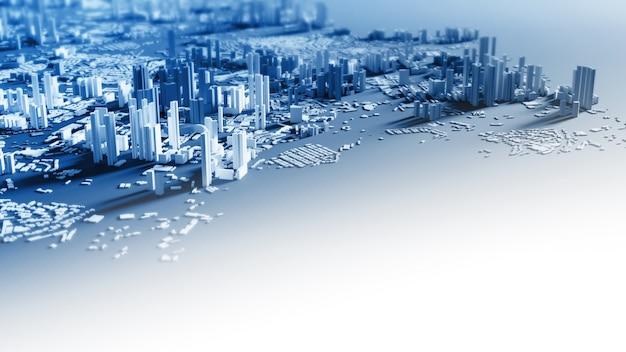 コピースペース3 dレンダリングとスマートシティデザインの背景