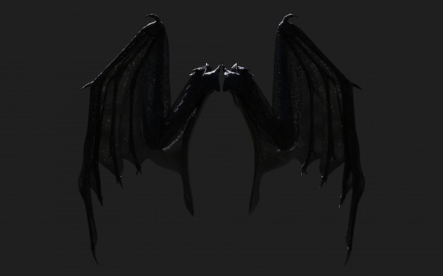 3 dイラストドラゴンの翼、悪魔の翼、クリッピングパスと黒に分離された悪魔の翼羽。