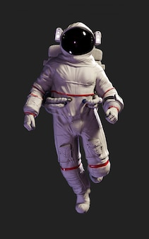 3 dイラスト宇宙飛行士は、クリッピングパスと黒の背景に分離に対してポーズします。