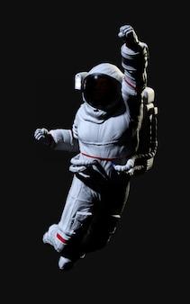 黒の背景に3 dレンダリングの宇宙飛行士