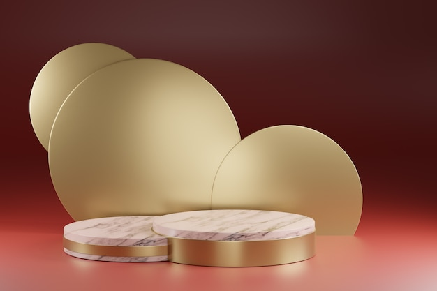 3 dレンダリング、アート装飾ラウンドゴールド背景、大理石のテクスチャシリンダー台座、表彰台、ショーケーススタンド。モックアップ