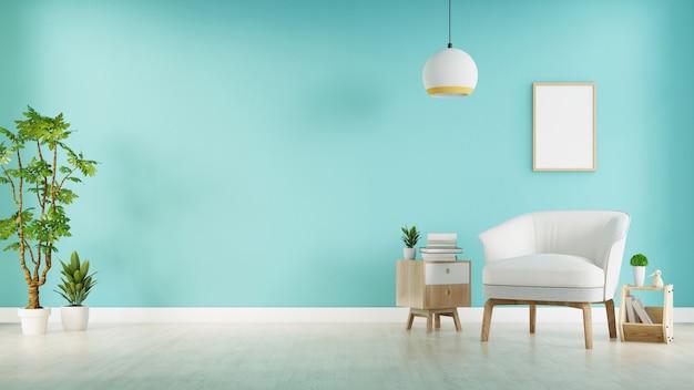 灰色のアームチェア付きのモダンなリビングルームには、木製の床と青い壁、3 dレンダリングにキャビネットと木製の棚があります。