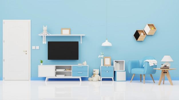 青い壁の空の部屋、最小限のデザイン、3 dレンダリングで作業中の正面図