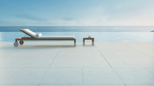 ビーチラウンジ-プールと海の景色とオーシャンヴィラ/ 3 dレンダリング