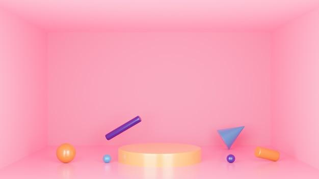 表彰台の最小限のスタジオの背景。抽象的な3 dの幾何学的図形オブジェクトの図をレンダリングします。