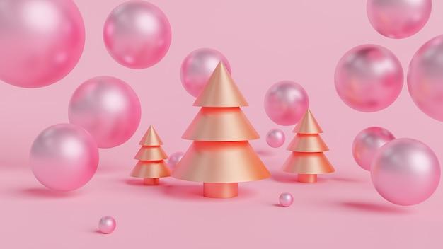 ゴールデンクリスマスツリーとボールの3 dレンダリング。