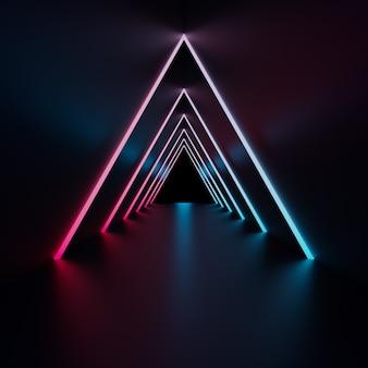 ネオンの光の幾何学的な背景、3 dのレンダリング