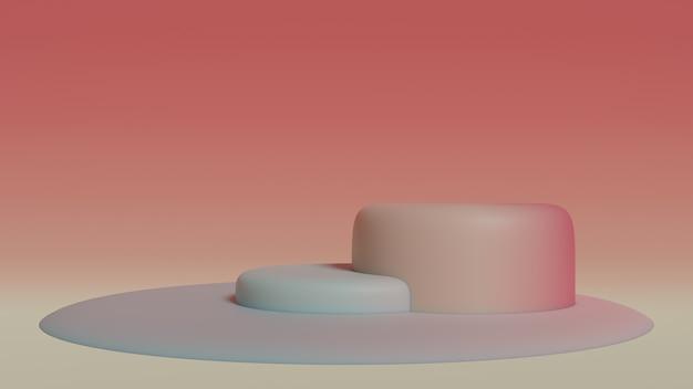 抽象的な幾何学的なカラフルな床のシーン3 dレンダリング