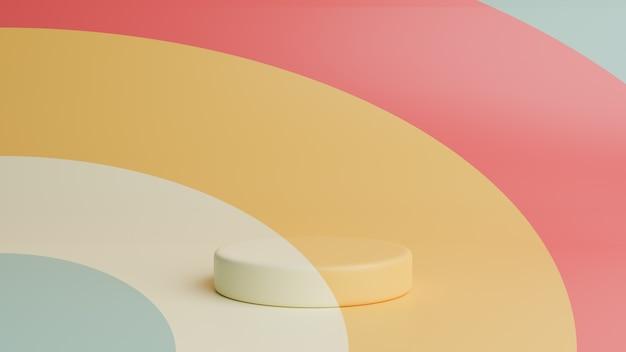 カラフルな背景に円柱表彰台。幾何学的な抽象的な最小限のシーン.3 dのレンダリング