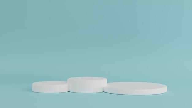 幾何学的形状の白いクリームシーン最小限の3 dレンダリング