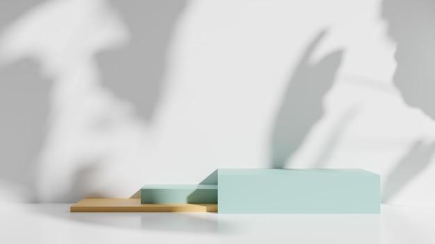 表彰台と白い壁の影、3 dのレンダリング