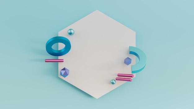 幾何学的図形が飛んで3 dレンダリングされた図。球、トーラス、円柱。