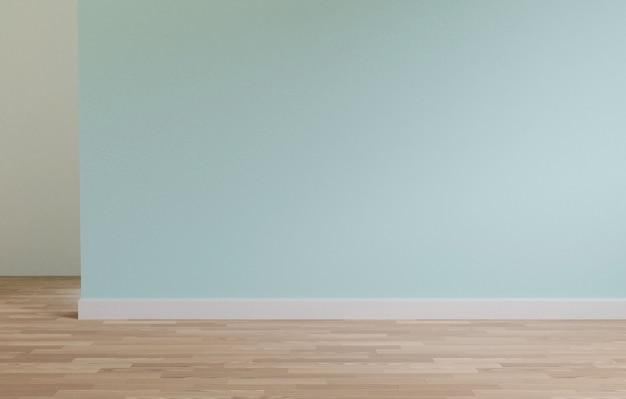 緑の壁と木製の床のコピースペース、3 dレンダリング