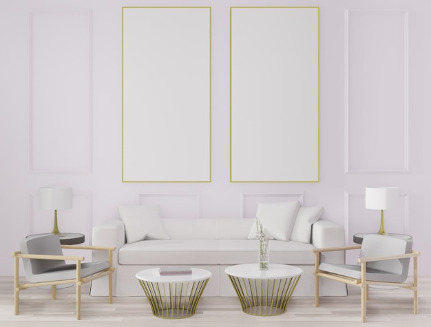 3 dレンダリングの大きなリビングルーム。インテリアデザイン、アールデコスタイル、白い壁