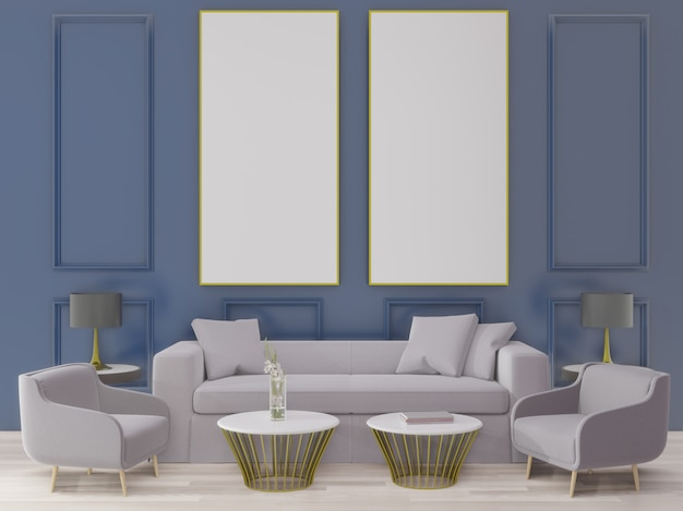 3 dレンダリングの大きなリビングルーム。インテリアデザイン、アールデコスタイル、青い壁