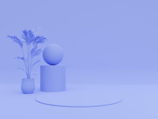 ファッション雑誌のイラストの製品プレゼンテーションの背景。ツリー、幾何学的、パステルブルーモノクロ最小3 dレンダリング図