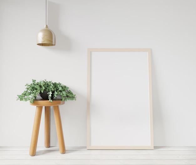 3 dレンダリング白いポスターフレームモックアップ白い壁、テーブル、バスケット、木製の床、生コンクリートの壁の植物