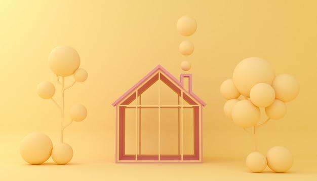 背景の家と木の幾何学的形状を表示します。空のショーケース、3 dイラストのレンダリング。