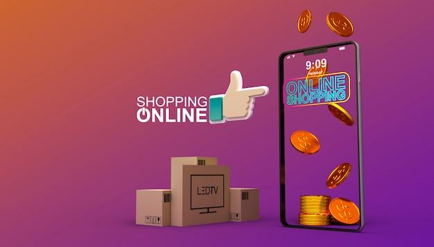 オンラインショッピング、モバイルアプリケーション、3 dレンダリング図