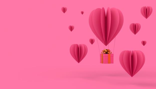 バレンタインデーのコンセプトの背景、愛カード、3 dレンダリング。