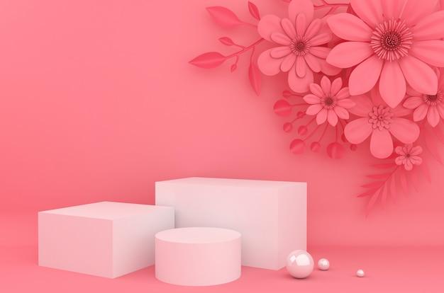 化粧品のプレゼンテーションの背景を表示します。空のショーケース、3 dレンダリング、フラワーペーパー。