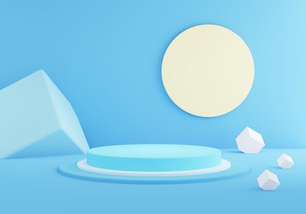 抽象的な幾何学的な空の青いシリンダー表彰台の3 dレンダリング。最小限のコンセプト。