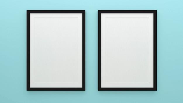 インテリアの背景、3 dのレンダリングとポスターフレームのモックアップ