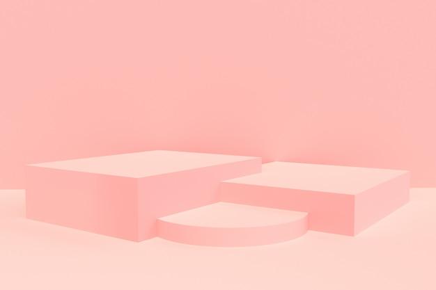 3 dレンダリング - ピンクの表彰台製品ディスプレイモックアップ
