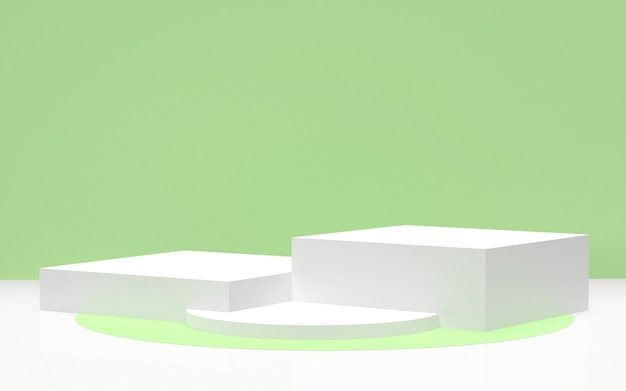 3 dレンダリング-環境に優しい製品を表示するための緑の背景を持つ白い表彰台