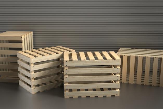 3 dレンダリング木製の箱の背景