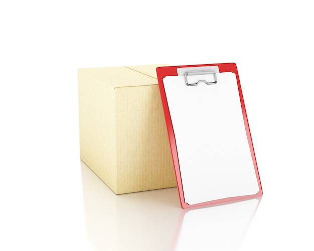 3 dイラスト。チェックリスト付き段ボール箱。配達のコンセプトです。孤立した白い背景