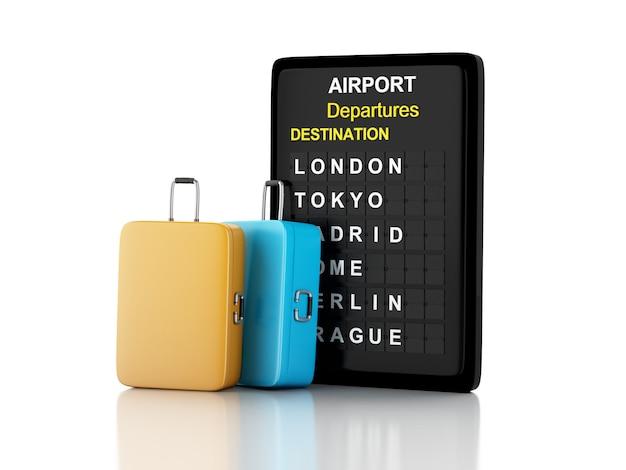 3 dイラスト。空港ボードと旅行スーツケース。航空会社の旅行の概念