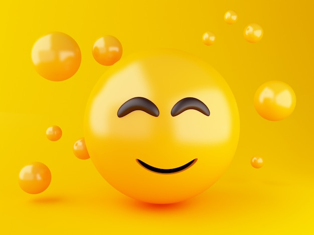 3 dイラスト。顔の表情を持つ絵文字アイコン。ソーシャルメディアの概念