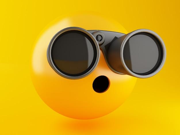 3 dイラスト。黄色の背景に双眼鏡を使って絵文字アイコン。ソーシャルメディアの概念