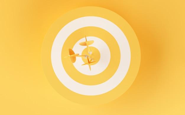 黄色の背景に3 dターゲット。