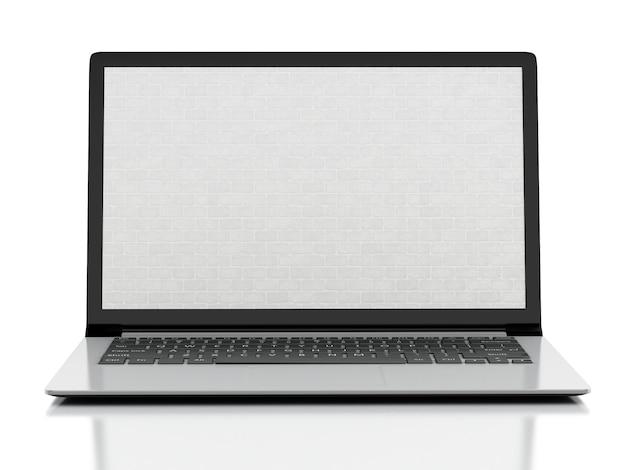 レンガの壁の画面を持つノートパソコン。ファイアウォールの概念孤立した白い背景。 3 dイラスト