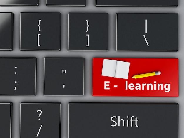 3 dコンピューターのキーボード。教育の概念