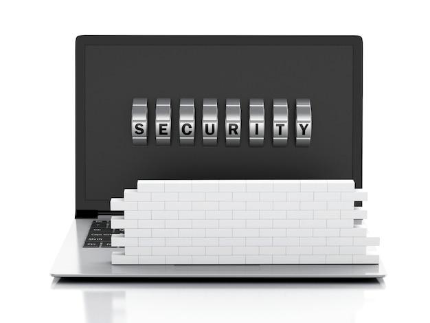 レンガの壁と組み合わせロックの3 dノートパソコン。