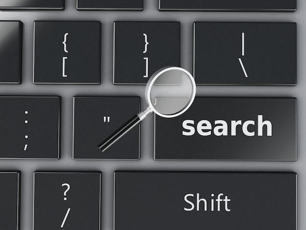 3 d虫眼鏡とコンピューターのキーボード。