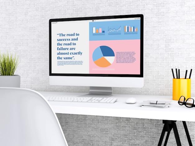 会社の成長についてのグラフィック情報を示す3 dラップトップ
