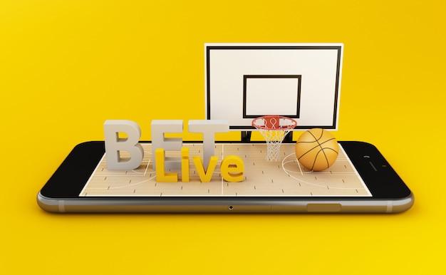 3 dウォッチングバスケットボールと賭けオンラインのコンセプト