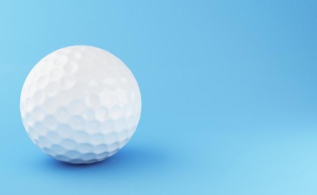 3 dイラスト青い背景にゴルフボール。スポーツコンセプト
