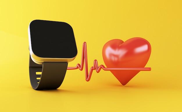 健康アプリアイコンと3 dのスマートな腕時計