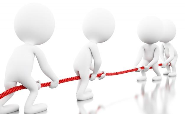 ロープを引っ張って3 dホワイトビジネス人々
