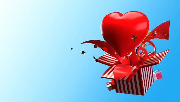 ギフトボックスと心の3 dレンダリングがポップアップし、愛と幸せなバレンタインの概念で爆発します。