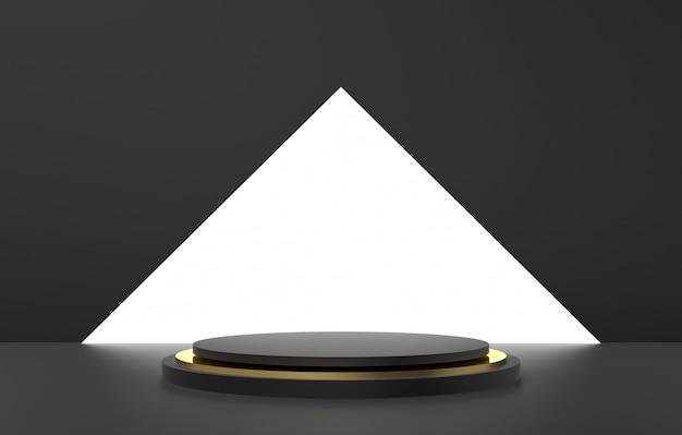 3 dの抽象的な形と幾何学、黒とゴールド色の舞台背景。