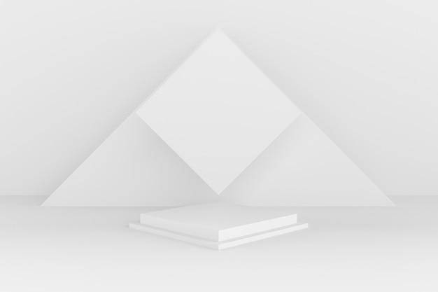 3 dの抽象的な形と幾何学、白い色の舞台背景。