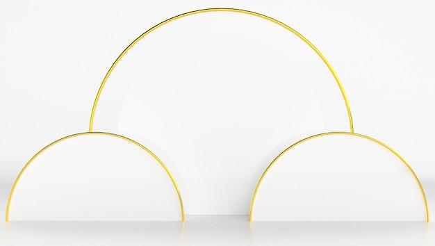 最小限の抽象的な背景を持つ白とゴールド色の3 dレンダリング。シェイプとジオメトリを使ったステージショー。